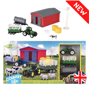 Farm Yard Kids Toy Play Set Christmas Gift Buildings Animals Tractor Windmill