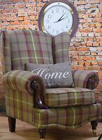 Wing Back/Queen Anne Balmoral Heather Brown/Plum/Green Tartan Fireside Chair.