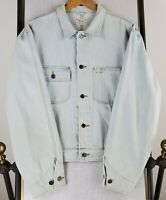 POLO RALPH LAUREN Size Large Made in USA Mens White Wash Denim Trucker Jacket