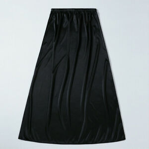 Lady Satin Skirt Faux Silk Petticoat Underskirt Under Dress Half Slip Midi Soft