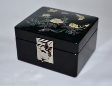 Inlaid Mother of Pearl Rose Design Lacquer Jewelry Trinket Box  Mirror Turtle