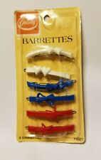 """Goody Barrettes Clasps Set of 6 Red White Blue Plastic Metal 6921 Vitnage 2 1/2"""""""