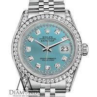 Ladies Rolex 26mm Datejust Ice Blue Color Diamond Dial Jubilee Bracelet Watch