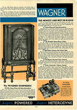1933 PAPER AD Wagner Symphonic Console Table Radio Commander Midget Sky Lark