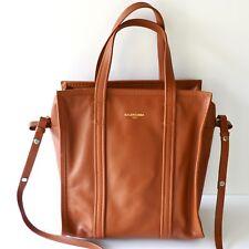 New Balenciaga Bazar Small Leather Shopper Tote Bag Brown 443096-DL