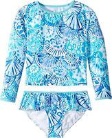 Lilly Pulitzer Kids Women's 189032 Blue Cora Rashguard Set Swimwear Size 4
