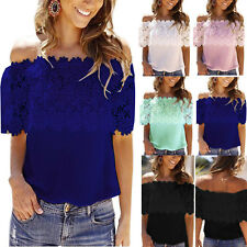 New Women's Off The Shoulder Lace Blouse Strapless T-Shirt Casual Loose Tee Tops