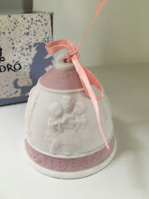 Lladro Christmas Bell 1996 - Children - w/ Box and Ribbon Pink/White