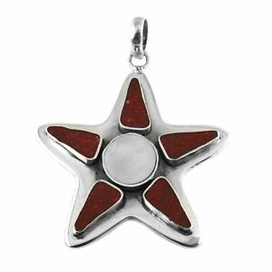 Round Shape Mother Of Pearl Coral Gemstone Jewelry 925 Silver Star Pendant I68