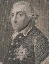 Gravure XVIIIe, A. Graf, Frédéric II. Friedrich. Engraving Radierung 18th