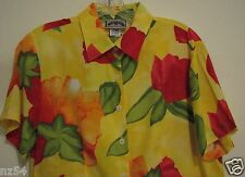 Pine Cove Div Sharon Young Size 8 Yellow Floral Tulips Rayon S/S Shirt Blouse