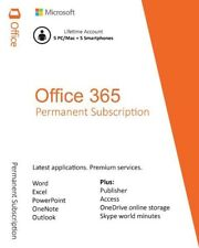 MICROSOFT OFFICE 365 - LIFETIME ACCOUNT - 5 DEVICES - 5TB - WINDOWS MAC MOBILE