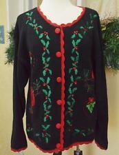 Womens M Christmas Cardigan Sweater Black Multi LS Buttons Cardinals Holly Birds
