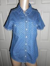 Christopher Banks Women's S Button Down Blue Denim Polka dot Short Sleeve Top