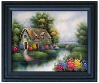 Framed Cottage with Garden Flowers, Quality Hand Painted Oil Painting 16x20in