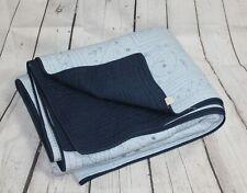 Nobility King Sz Reversible Quilt/Comforter Blue Embroidery 100% Cotton