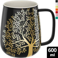 amapodo Kaffeetasse groß aus Porzellan mit Henkel 600ml Kaffeebecher Dunkelgrau