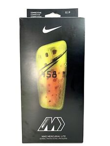 Nike Mercurial Lite Shin Guards with Guard Sleeve Men Neon Yellow  Size Small