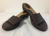 BORN Slip-On Sandals Slides Wedges Brown Leather Women's Size 10/42