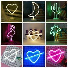 Party LED Neon Lampe Beleuchtung Neonlight Batterie Neonlicht Wandbild Holz Deko