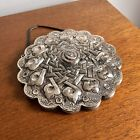 Vintage Turkish 900 Silver Mirror BEDO Repousse Wedding Handcrafted Middle East