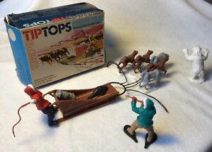 Vintage Timpo, 1970s, Boxed Tip Tops 'Eskimo Dog sled', 54mm scale plastic