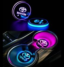 2Pcs Led Car Logo Cup Holder Pad 7 Colors Changing Lights Best Gift for Toyota
