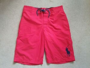 POLO BY RALPH LAUREN Boys Swimming Shorts In Red Size L (Age 14-16)