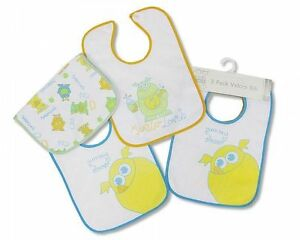 Nursery Time Baby Boys Bibs 3-Pack with PEVA Backing - Yummy Dinner - 627