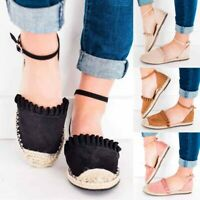Womens Espadrilles Ankle Strap Flat Sandals Ladies Summer Holiday Casual Shoes