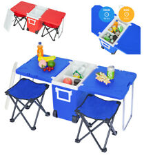 Outdoor Garden Camping Fishing Picnic Travel Beach Chair W/Rolling Cooler Table