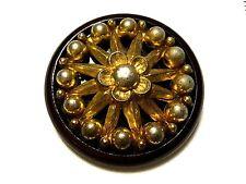 Large Old Vintage Plastic & Metal Flower Wheel Overlay Sewing Button AVB240