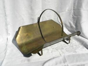 Antique/Vintage Rectangle Brass Fireplace Log Holder with Curled Corners