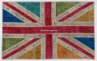 Custom Colour Combination UNION JACK design Overdyed Vintage Patchwork Rug