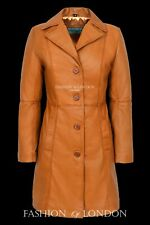 Ladies MIDDLETON Leather Coat Tan Waxed Classic Formal Long Leather Jacket 3457