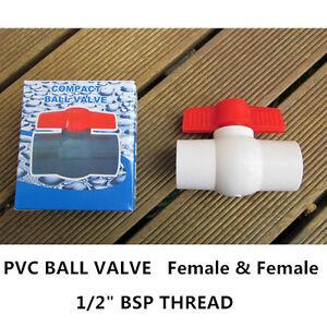 "PVC Ball Valve - 1/2"" (15mm) Thread End - F/F 34PCS"