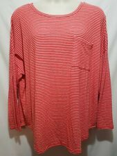Old Navy XXL Womens Long Sleeve Red White Stripes Pocket Top