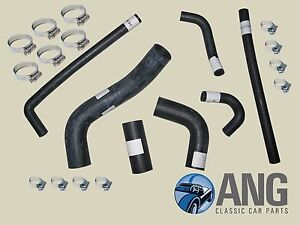 TRIUMPH TR5, TR6 PI REINFORCED RUBBER WATER, RADIATOR COOLING HOSES & CLIPS KIT