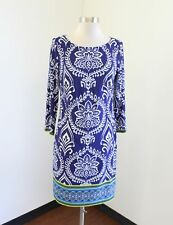 Vince Camuto Blue Paisley Floral Geometric Print Shift Dress Size 6 Casual