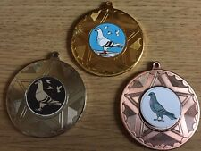 3 x PIGEON MEDALS (50mm) GOLD,SILVER & BRONZE - FREE ENGRAVING,CENTRES & RIBBONS