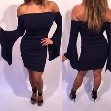 Connie's Off shoulder Blue Mini Dress Knit Fabric size  S/M