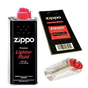 Genuine zippo Lighter Cigarette Lighter Refill 125ml Petrol Tin +1 Wick +6 Flint