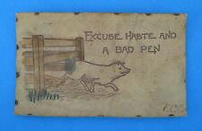 Antique 1906 Leather Postcard Excuse Haste Bad Pen Pig Fence St Paul Minnesota