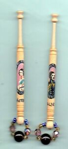Pair of wood lace bobbins painted with Queen Victoria and Prince Albert