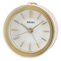 Seiko QHE156W Bedside Beep Alarm Clock with LED Flashing Alarm - Gold & White
