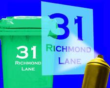 custom - address - number wheelie bin stencil - personalised