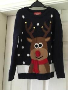 Childrens Christmas Jumper 7-8 Sweater Xmas Reindeer Novelty Scarf Cute