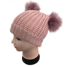 New Girls Childrens Winter Warm double two faux fur pom pom Beanie Bobble Hat
