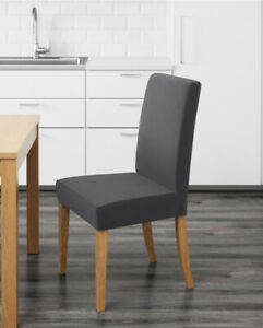 IKEA HENRIKSDAL Chair - Natural Oak with Grey 100% Cotton Removable Upholstery
