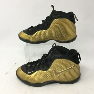 Nike Little Posite Pro PS Basketball Shoes Youth 3Y Gold Lace Up 843755-701